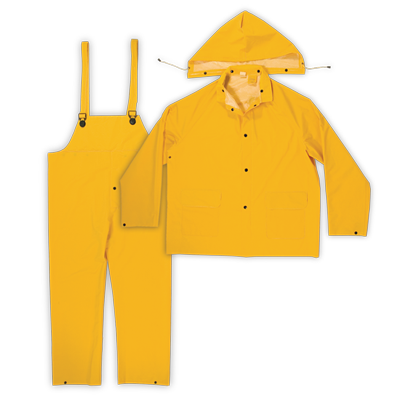 3pc PVC Rain Suit, Yellow 0.35mm PVC/Polyester Backing