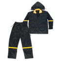 3pc Nylon Rain Suit, Black Nylon/PVC Backing, 0.18mm
